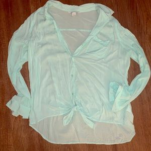 Old Navy Mint green tie front top